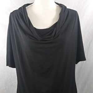 Michael Kors Top Black Draped Neck Size Large